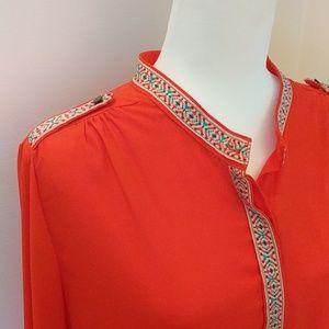 🔥 Miami Boho Hot Red/Orange Button Blouse